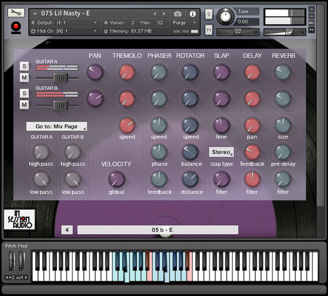 Lowdown Groove Guitar - User Interface Kontakt 2