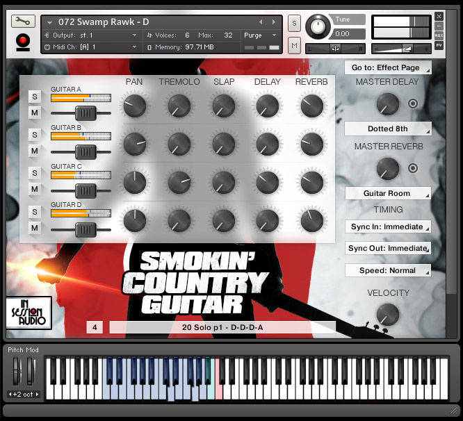Smokin Country Guitar - Kontakt User Interface