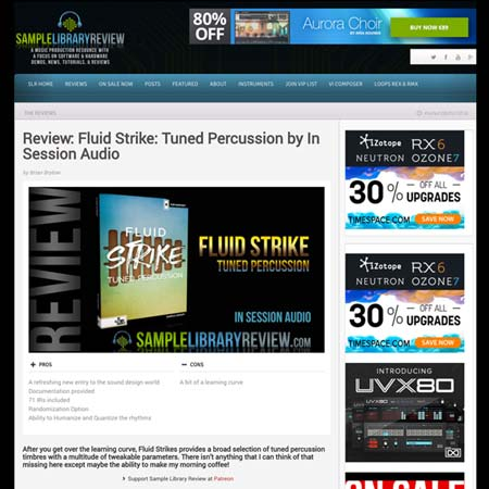 Sample Library Review of Fluid Strike Tuned Percussion sample library for Kontakt
