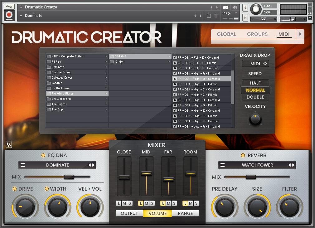Drumatic Creator - MIDI Page