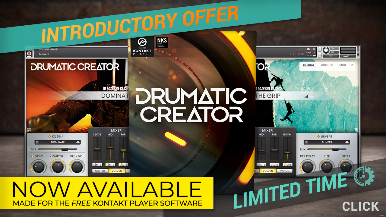 It's here!  Drumatic Creator for the free Kontakt Player